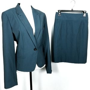 Worthington Teal Skirt & Blazer Suit